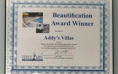 Addy's Villas Receives Award